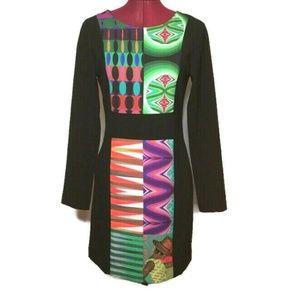 Desigual Women's Dress 6 Black Art Print Stretch